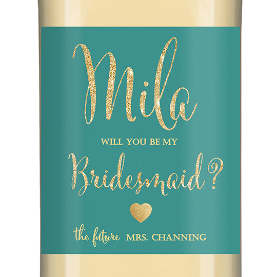 """Mila"" Turquoise + Gold Glitter Bridesmaid Proposal Wine Labels"