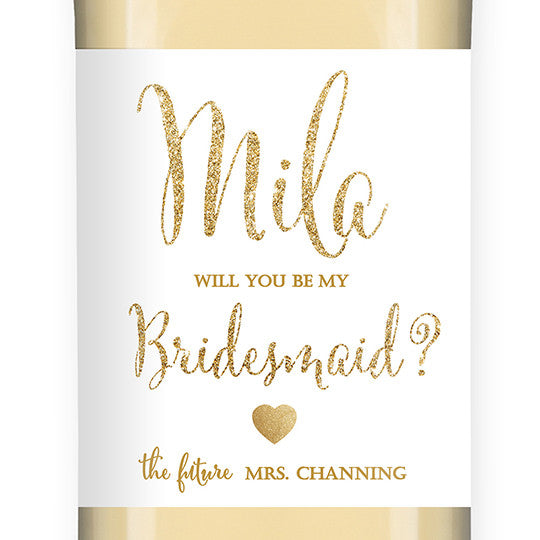 """Mila"" White + Gold Glitter Bridesmaid Proposal Wine Labels"