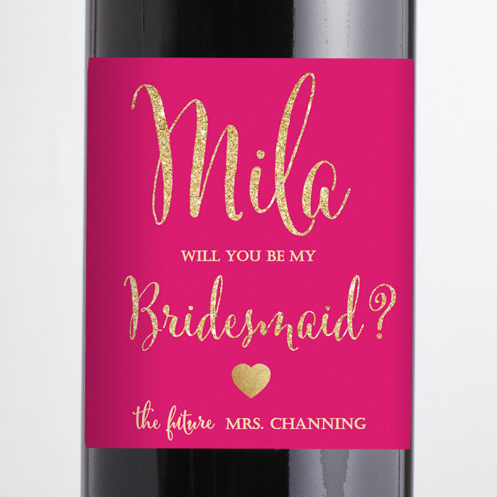 """Mila"" Hot Pink + Gold Bridesmaid Proposal Wine Labels"