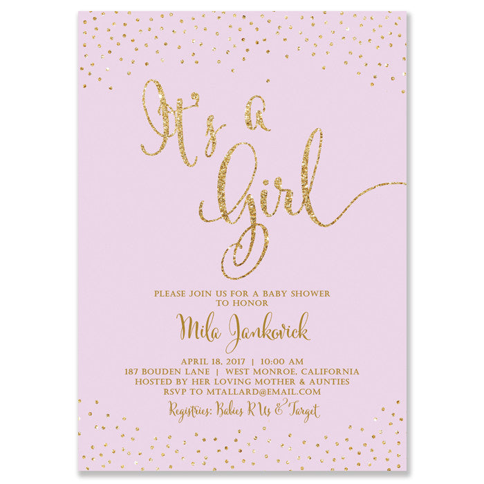 """Mila"" Lilac + Gold Glitter Baby Shower Invitation"