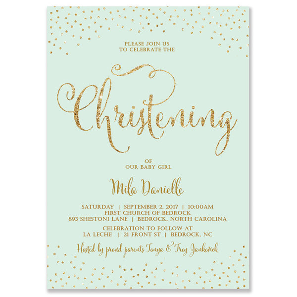 """Mila"" Mint + Gold Glitter Christening Invitation"