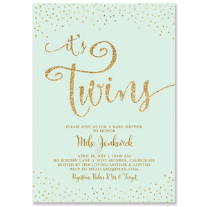 """Mila"" Twins Gender Neutral Baby Shower Invitation"