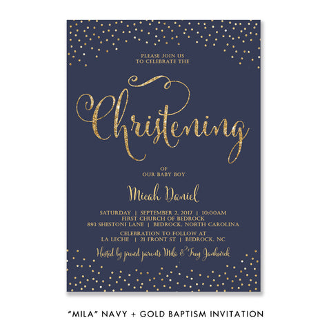 """Mila"" Navy + Gold Glitter Christening Invitation"