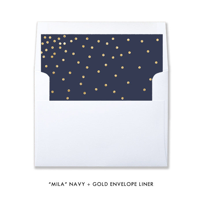 """Mila"" Navy + Gold Twins Baby Shower Invitation"