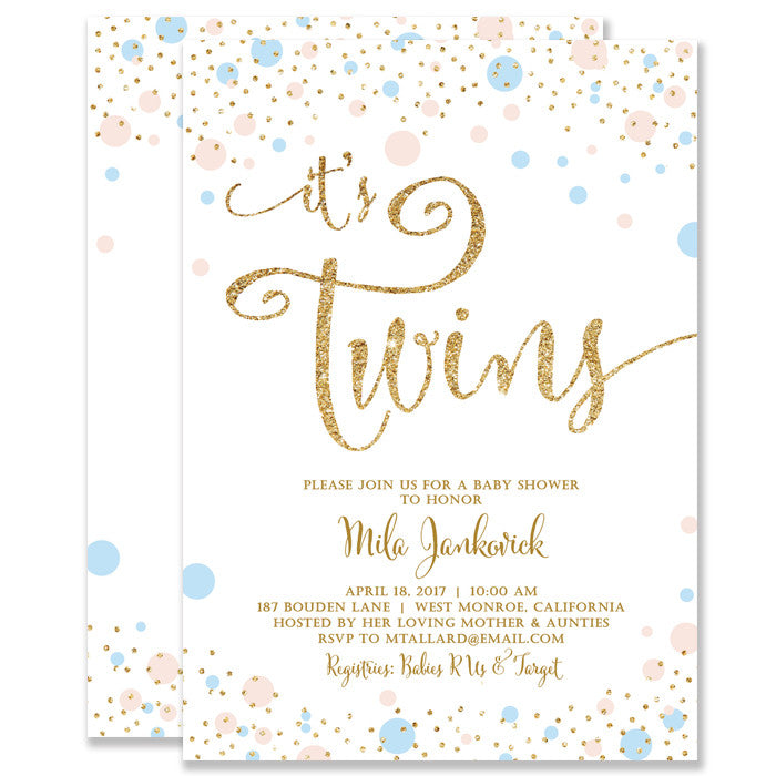Twins Boy Girl Gender Neutral Baby Shower Invitation Digibuddha