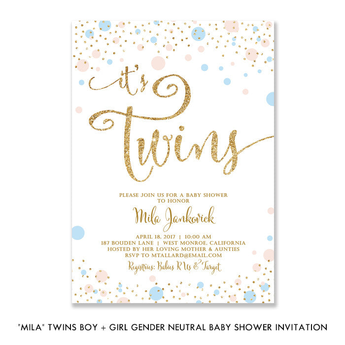 """Mila"" Twins Boy + Girl Gender Neutral Baby Shower Invitation"