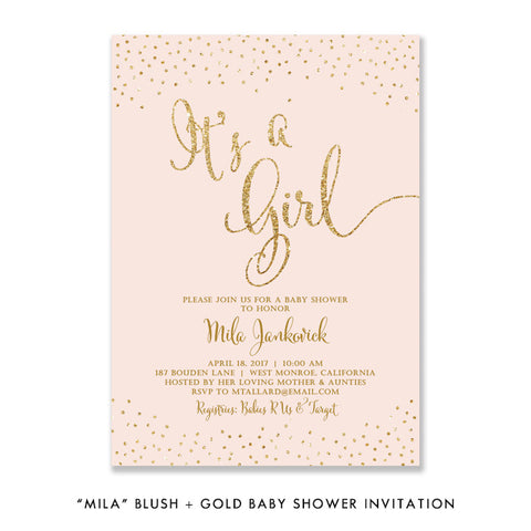 """Mila"" Blush + Gold Glitter Baby Shower Invitation"