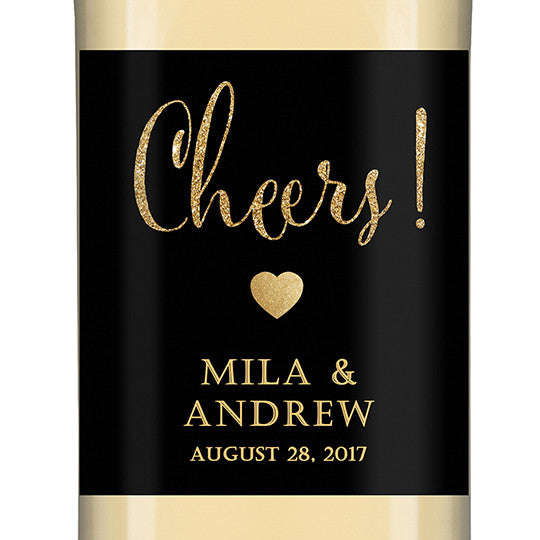 """Mila"" Black + Gold Glitter Wedding Wine Labe"
