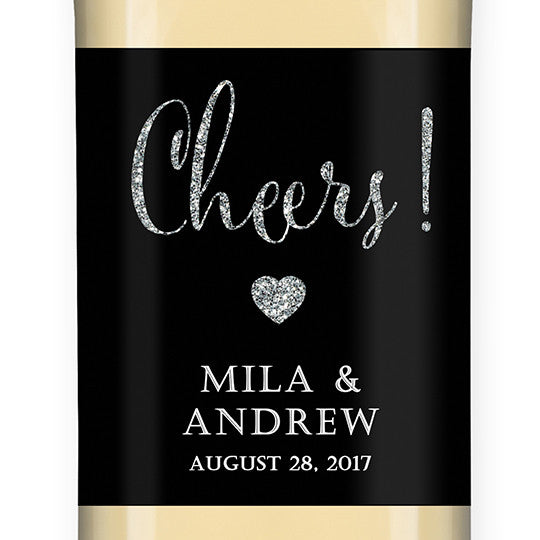 """Mila"" Black + Silver Glitter Wedding Wine Labels"
