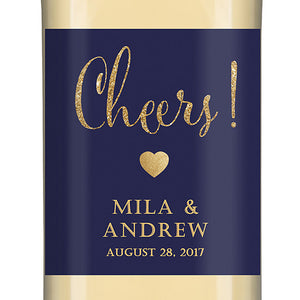 """Mila"" Navy + Gold Glitter Wedding Wine Labels"