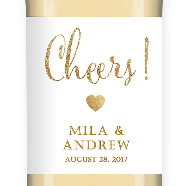 """Mila"" White + Gold Glitter Wedding Wine Label"