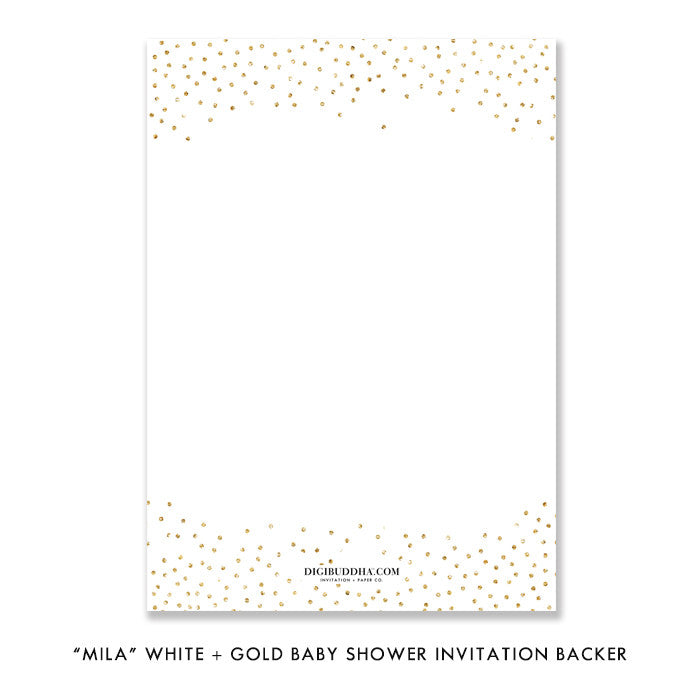 """Mila"" White + Gold Glitter Baby Shower Invitation"