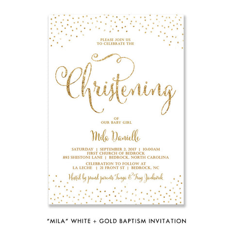 """Mila"" White + Gold Glitter Baptism Invitation"