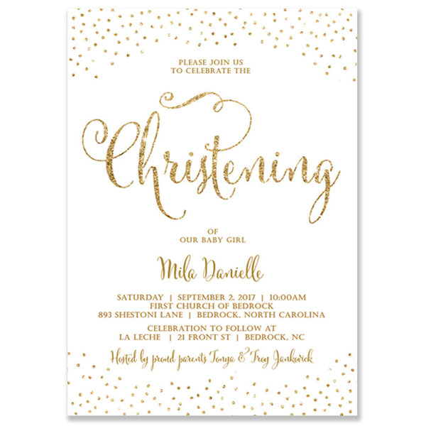 """Mila"" White + Gold Glitter Christening Invitation"