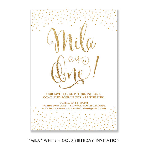 """Mila"" White + Gold Glitter Kids Birthday Invitation"