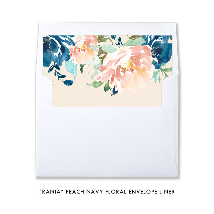 """Rania"" Peach Navy Floral Bridal Shower Invitation"