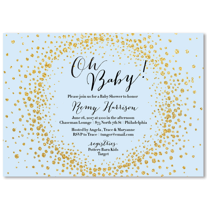 Baby Blue Gold Giltter Oh Baby Baby Shower Invitation Digibuddha