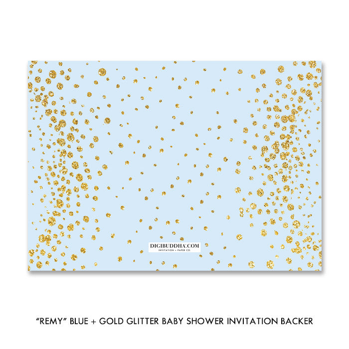 """Remy"" Blue + Gold Glitter Baby Shower Invitation"