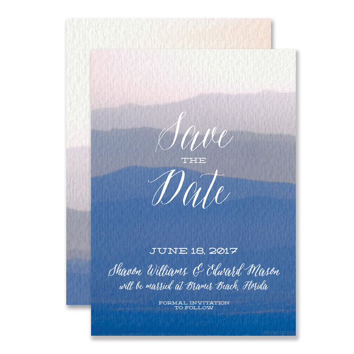 "Boho Chic blue ombre watercolor ""Shavon"" save the dates 