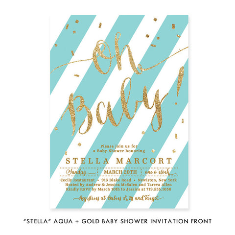 """Stella"" Aqua + Gold Glitter Baby Shower Invitation"