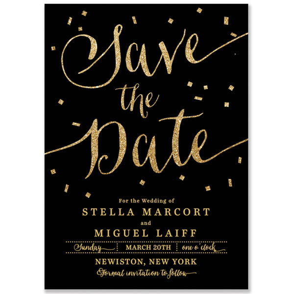 """Stella"" Black + Gold Glitter Confetti Save The Date Card"