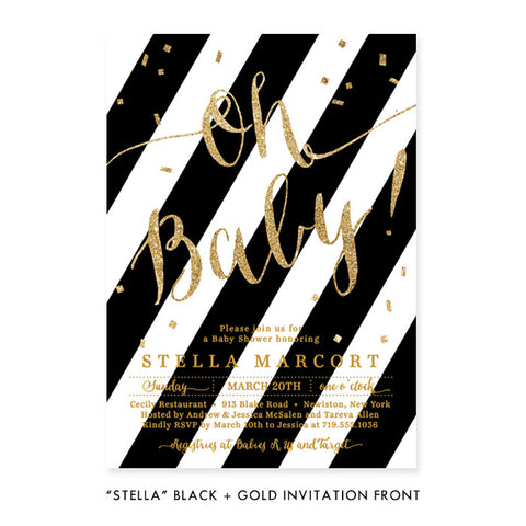"""Stella"" Black + Gold Glitter Baby Shower Invitation"