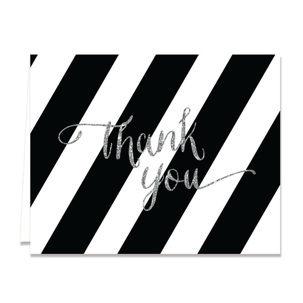 """Stella"" Black + White Silver Glitter Bridal Thank You Card"