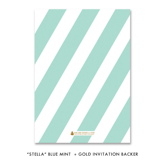 "Blue mint + gold glitter ""Stella"" baby shower invitation backer 