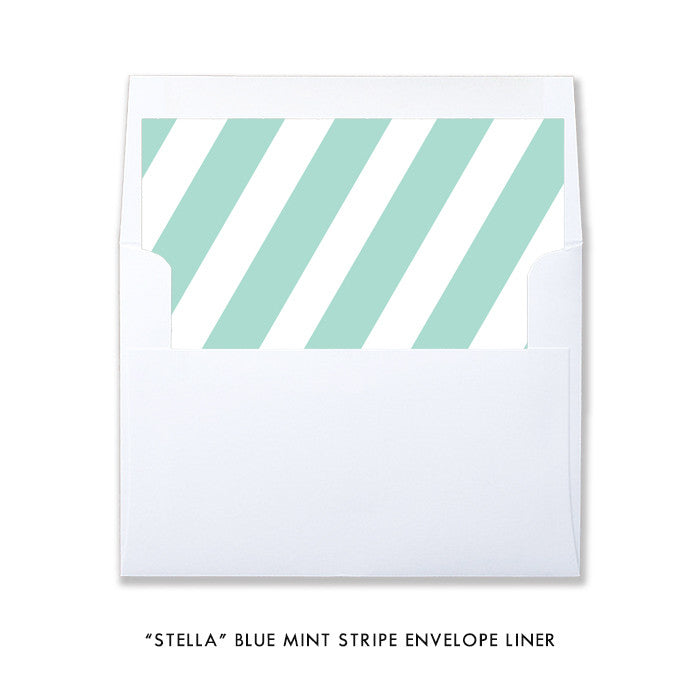 "Blue mint + gold glitter ""Stella"" striped envelope liner 