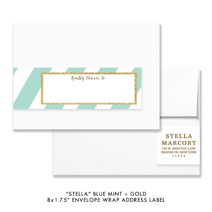 "Blue mint + gold glitter ""Stella"" striped envelope wrap address label 