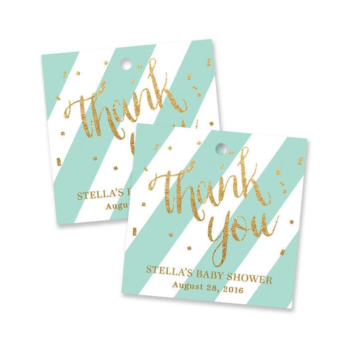 "Blue mint stripe + gold glitter confetti ""Stella"" baby shower favor tags 