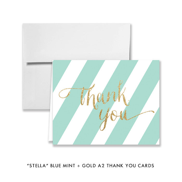 "Blue mint + gold glitter ""Stella"" striped folded A2 thank you cards 