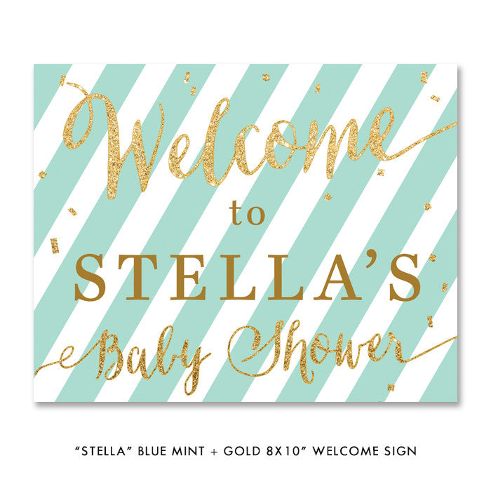 "Blue mint + gold glitter ""Stella"" striped party welcome sign 