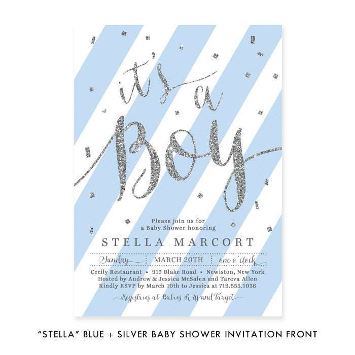 """Stella"" Blue + Silver Glitter Baby Shower Invitation"