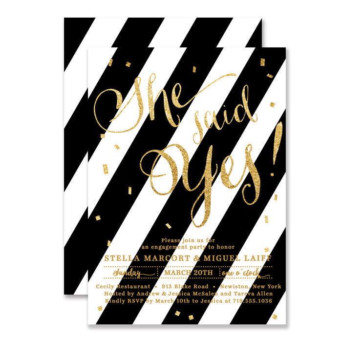 "Black + White striped gold glitter ""Stella"" She said yes! Engagement party invitation 