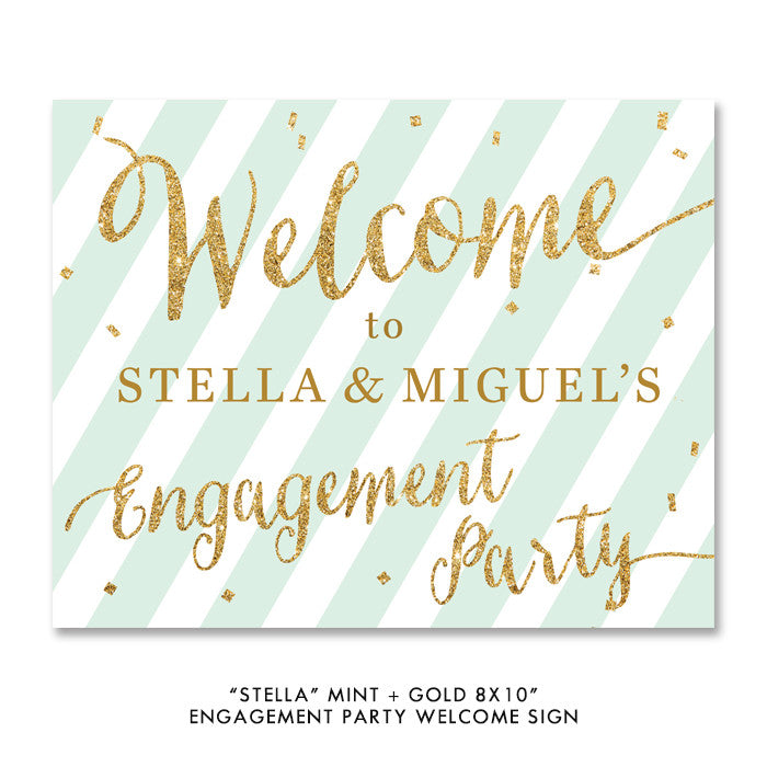 "Mint + Gold Glitter ""Stella"" Engagement Party welcome sign 
