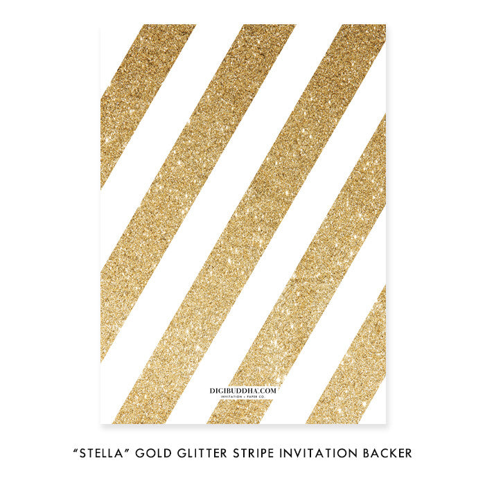 """Stella"" Gold Glitter Stripe Baby Shower Invitation"