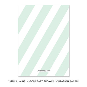 """Stella"" Mint + Gold Glitter Baby Shower Invitation"