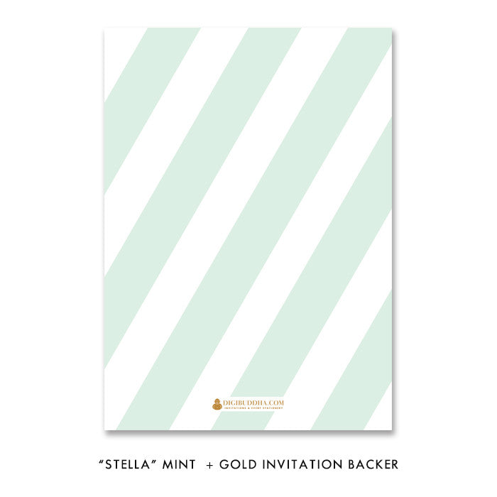 mint green and gold glitter striped bridal shower invitation back side design by digibuddha.com