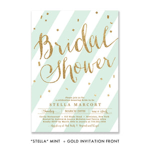 "mint green and gold glitter look ""stella"" bridal shower invitation front design by digibuddha.com"
