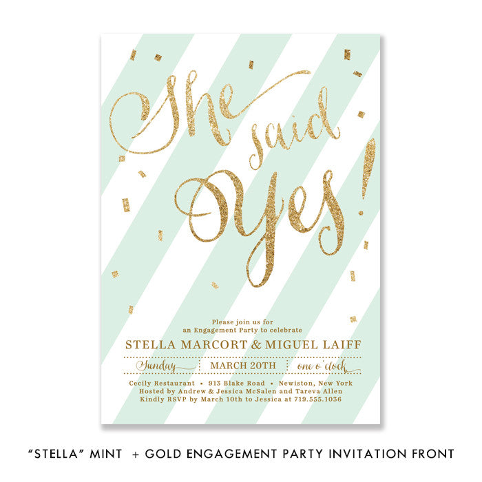 "Mint stripe + gold glitter confetti ""Stella"" She said yes engagement party invitation 