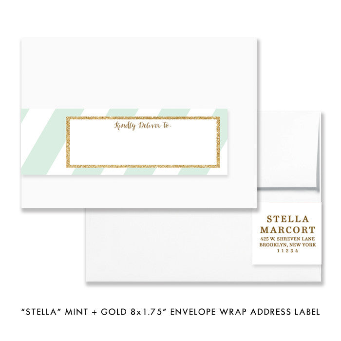 "mint green and gold glitter ""stella"" envelope wrap address label 