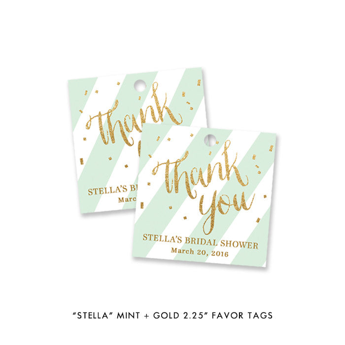 "mint green striped and gold glitter confetti ""Stella"" bridal shower favor tags at digibuddha.com"