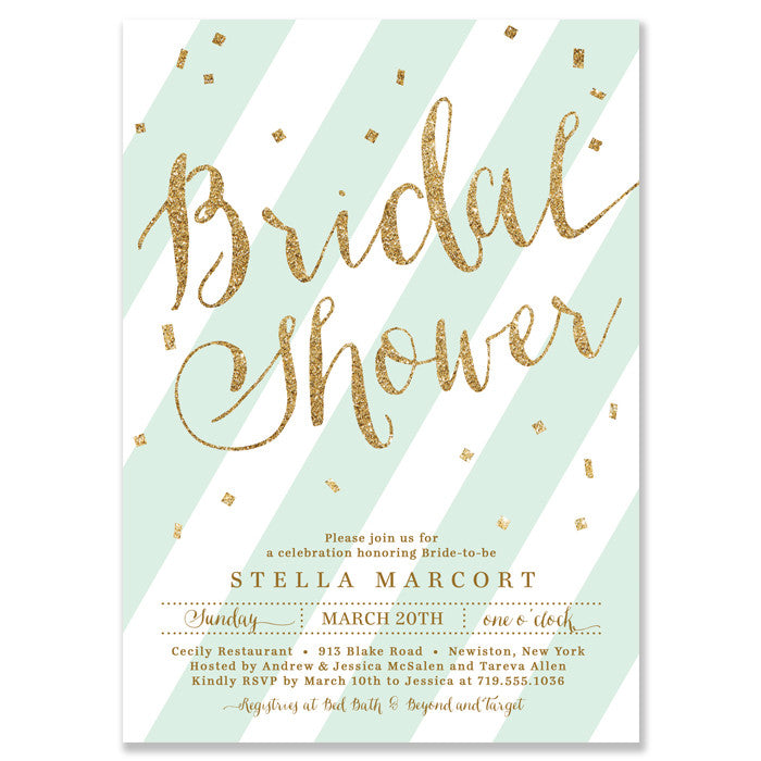 """Stella"" Mint + Gold Glitter Bridal Shower Invitation"