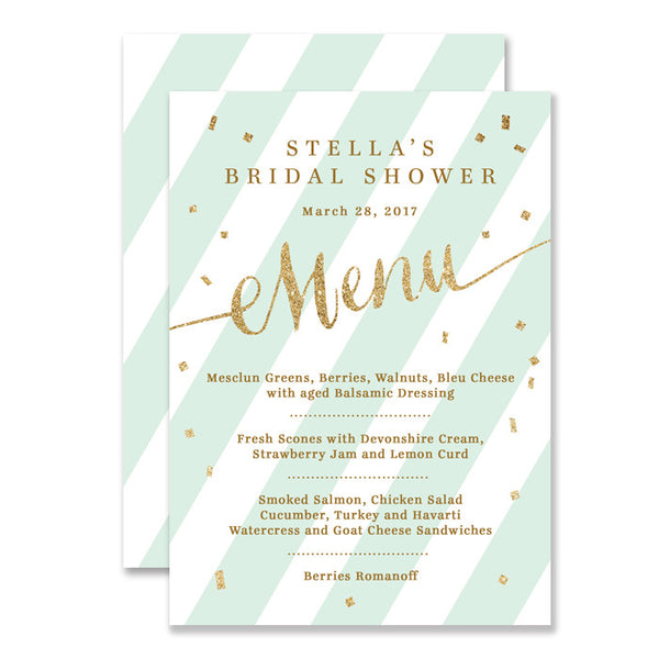 "Mint green + gold glitter confetti ""Stella"" bridal shower Menu 