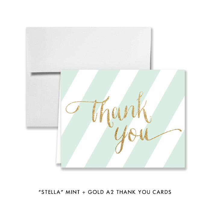 "mint green and gold glitter ""stella"" folded thank you cards from digibuddha.com"