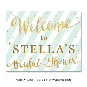 "mint green stripes and gold glitter confetti ""Stella"" bridal shower party sign by digibuddha.com"
