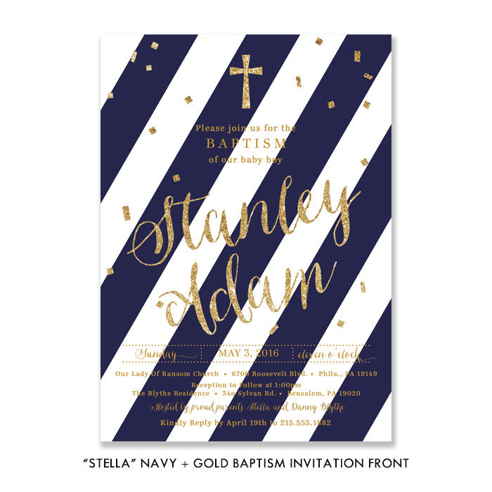 """Stella"" Navy + Gold Baptism Invitation"