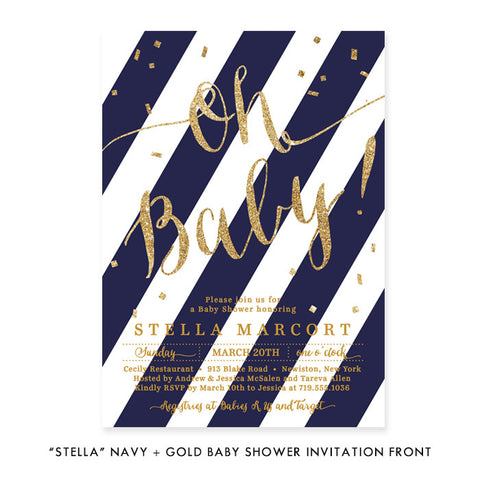 """Stella"" Navy + Gold Glitter Baby Shower Invitation"