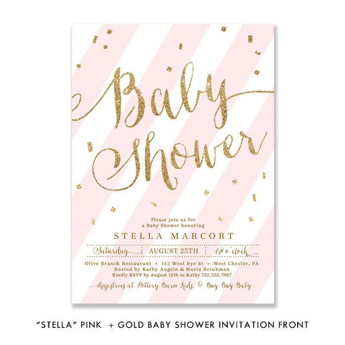 "Pink + Gold Glitter ""Stella"" striped baby shower invitation 